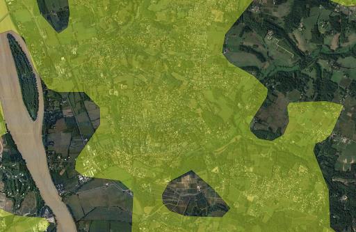 Capture d'écran de la délimitation de la commune de Latresne sur Clearance