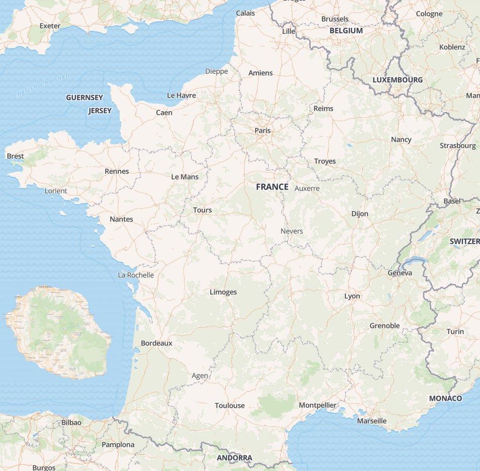 Carte de France et Reunion de Clearance