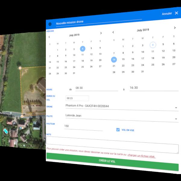 creer un nouvelle mission sur la carte drone